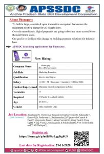 APSSDC Phone Pay Marketing Executives Jobs Recruitment Registration Form-AP Private Jobs