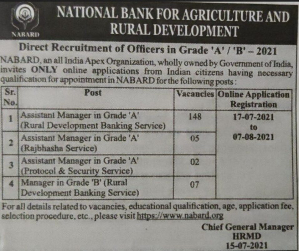 NABARD Bank Assistant Manager recruitment 2021