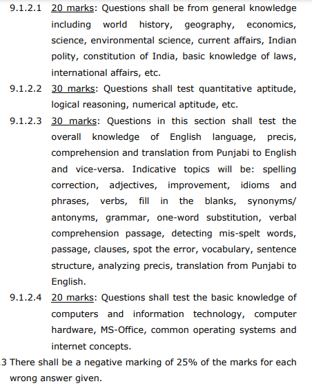 Punjab Police SI Constable IT Software Hardware HRM Legal Support Exam Syllabus Phase 1 Test
